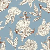 Vector hand drawn seamless pattern with anchor