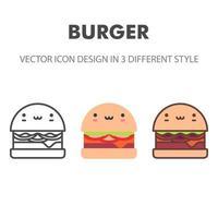 icono de hamburguesa. kawai y linda ilustración de comida. para el diseño de su sitio web, logotipo, aplicación, interfaz de usuario. Ilustración de gráficos vectoriales y trazo editable. eps 10. vector