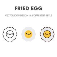 fried egg icon. Kawai and cute food illustration. for your web site design, logo, app, UI. Vector graphics illustration and editable stroke. EPS 10.