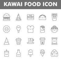 paquete de iconos de comida kawai aislado sobre fondo blanco. kawai y linda ilustración de comida. para el diseño de su sitio web, logotipo, aplicación, interfaz de usuario. Ilustración de gráficos vectoriales y trazo editable. eps 10.