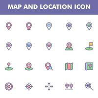 Map and location icon pack isolated on white background. for your web site design, logo, app, UI. Vector graphics illustration and editable stroke. EPS 10.
