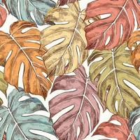 Monstera leaves hand drawn retro seamless pattern vector