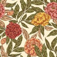 peonía, flor, seamless, patrón vector