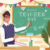 Happy Teacher Day with Cute Mr. Teacher vector