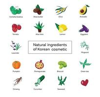 set of icons about natural ingredients in cosmetics, color vector drawing of centella, aloe, lemon, pomegranate, avocado, cucumber, wormwood, eggplant, lavender, tomato, pumpkin, broccoli, ginseng, olive, green tea