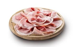 Chopping board with sliced cooked ham photo
