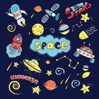 Space set. Vector illustration in cartoon style.