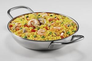 Small paella in a pan photo