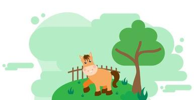 Cute Cartoon Vector Illustration of Horse and Farm Rural Meadow