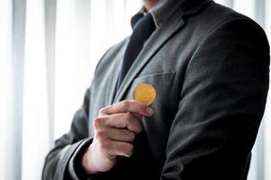 concepto de bitcoin y criptomoneda foto