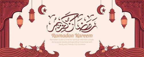 Ramadan kareem banner with hand drawn islamic illustration ornament on white background. vector