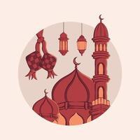 Hand drawn illustration of ramadan kareem or eid mubarak greeting concept in white background. vector