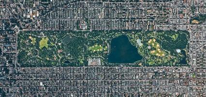 Vista aérea del parque central de Manhattan, Nueva York