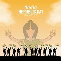 dibujado a mano ilustración del día de la república india vector