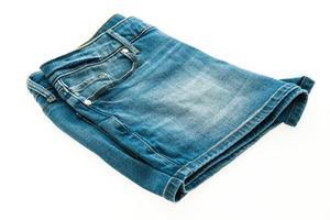 Jean short pants on white background photo