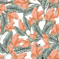 Contemporary floral seamless pattern set. Modern exotic design for paper, cover, fabric, interior decor and other uses vector