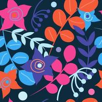 Seamless vector pattern with multicolored flowers and plants on a dark background