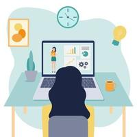 Vector flat illustration of learning online at home. The girl is sitting in front of her laptop and looking at the screen
