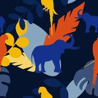 Vector seamless pattern with silhouettes of elephants, parrots and plant leaves