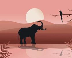 elefante y loro en áfrica junto al lago vector