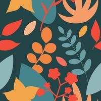 Vector seamless flat pattern of plants in autumn retro colors
