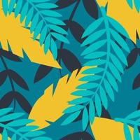 Vector seamless flat bright pattern with a palm branch and other plants