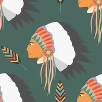 Vector seamless pattern with a profile of an Indian in a headdress and feathers