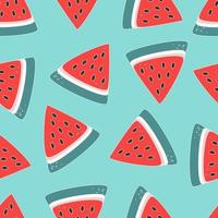 Vector pattern of watermelon pieces on a turquoise background
