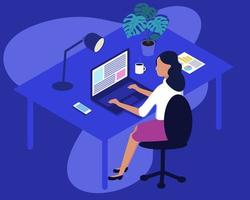 Woman Working at Home Office. Character Sitting at Desk in Room, Looking at Computer Screen and Talking with Colleagues Online. Home Office Concept. vector