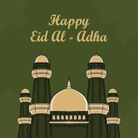 Tarjetas de felicitación de eid al-adha con mezquita dibujada a mano en fondo verde. vector