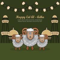 Tarjetas de felicitación de eid al-adha con ovejas dibujadas a mano en fondo verde. vector