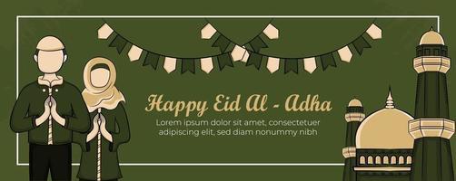 Plantilla de banner de eid al-adha con musulmanes dibujados a mano, mezquita, linterna y adornos islámicos en fondo verde. vector