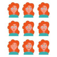 Vector flat image with a set of different emotions. Portrait of a young girl with red hair in 9 versions on a white background