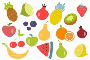 Vector set of juicy fruits and berries on a white background. Healthy natural food, a source of vitamins