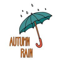 Vector flat image of an umbrella with raindrops on top with text on a white background