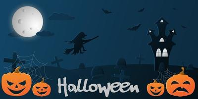Vector flat illustration with a gradient on halloween theme, blue background with the image of a flying witch in the sky, a castle, bats and pumpkins