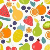 Vector patrón transparente brillante de jugosas frutas y bayas sobre un fondo blanco.