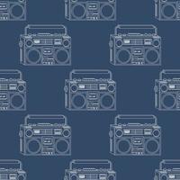 vector patrón sin fisuras con grabadora retro sobre fondo azul oscuro, contorno blanco, fondo de música