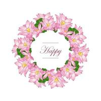 Vector flat illustration in the form of a wreath of pink flowers and Lotus leaves on a white background with an inscription in the center. Design of invitations, greeting and wedding cards