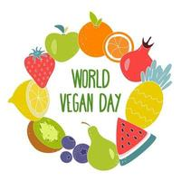 ilustración vectorial del día mundial del vegetariano. Letras en el centro de un círculo de diferentes frutas y bayas brillantes y jugosas sobre un fondo blanco. vector