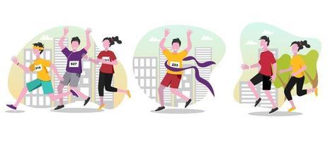 Running people vector cartoon illustrations set