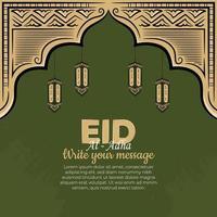 Tarjetas de felicitación de eid al-adha con linterna dibujada a mano en fondo verde. vector