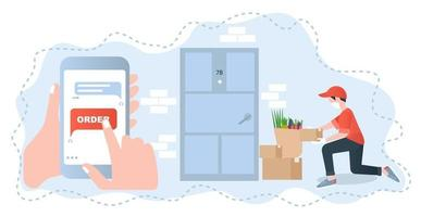 Illustration with contactless delivery concept for web design vector