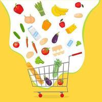 frutas, verduras y otros alimentos están volando hacia el carro de la tienda. compras, compras en línea ilustración del concepto de vector en estilo de dibujos animados.