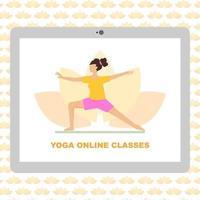 concepto de vector de clases de yoga en línea. Ilustración plana de dibujos animados de lecciones de yoga en línea con fondo transparente.