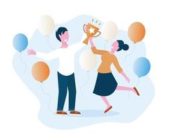 Man and woman are holding award cup vector