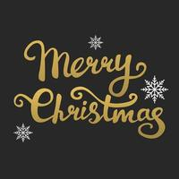 Vector text of Christmas greetings written by hand, Golden gradient on a dark gray background