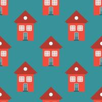 Vector seamless pattern of red simple houses, children's background