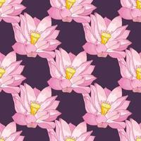 Vector seamless pattern of Lotus flowers, delicate pink colors on a dark lilac background