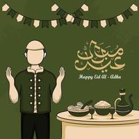 Tarjetas de felicitación de eid al-adha con dibujado a mano de musulmanes y comida islámica en fondo verde. vector